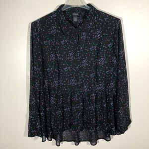Torrid Black Sheer High Low Blouse with Do…